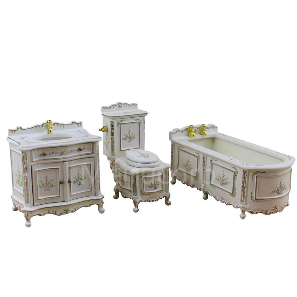 DOLLHOUSE FINE 1/12 SCALE MINIATURE FURNITURE WELL MADE HAND CARVED BATHROOM SET