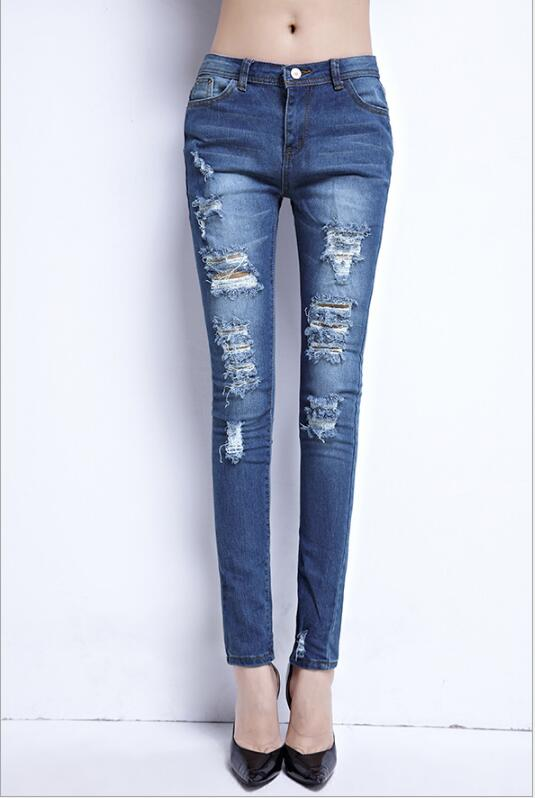 The spring and summer of 2017 large size Korean fashion slim slim hole feet stretch jeans