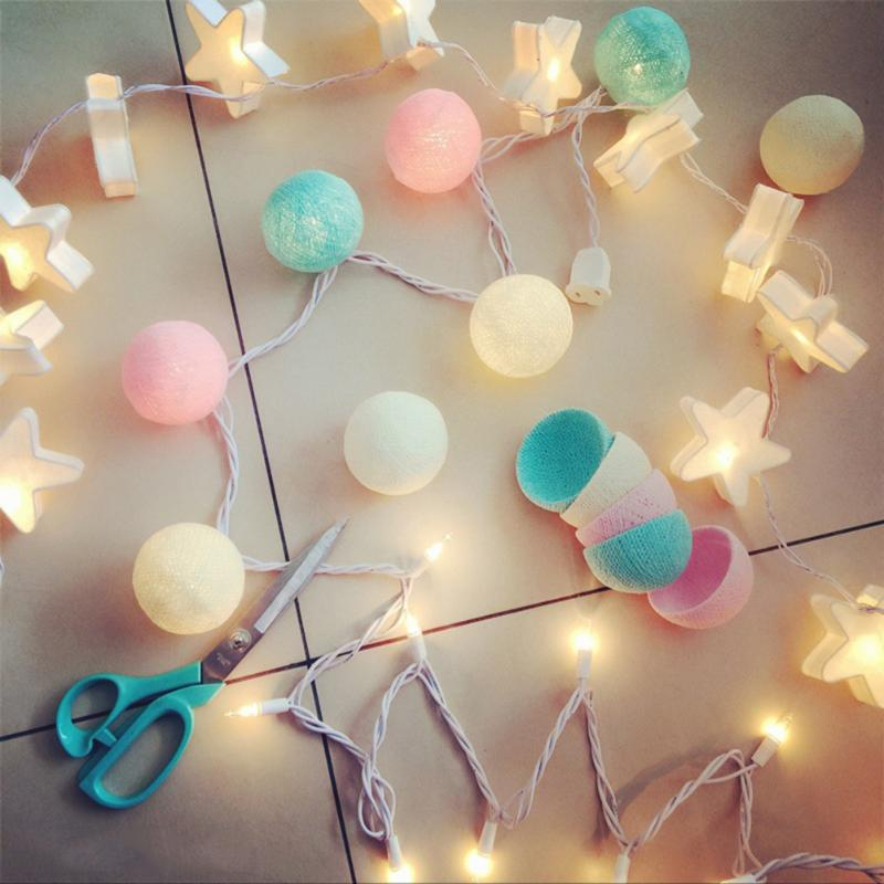 Brand New 200mm 20 LED Cotton Ball Colorful String Lights Party Christmas Tree Decorations Lights With Battery Power 20 led bubble ball shaped christmas tree string lights decorated colored lamp