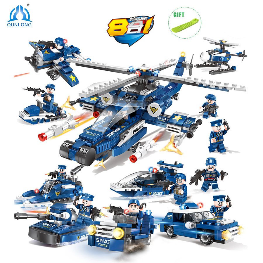 515pcs 6 in 1 Swat Army Police Helicopter Car Soldier Figures Building Blocks Weapon Sets Compatible Legoed City Educational Toy стоимость