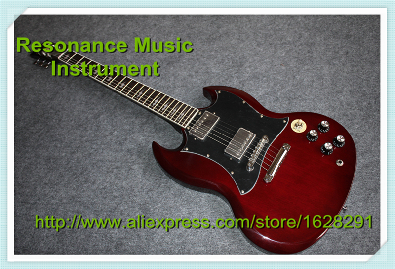 Classic Model Best Service SG Guitar Red Color Angus Young Style AC/DC Inlaids & Lefty SG Available brand new angus young sunburst sg electric guitar brown custom free shipping chrome hardwares