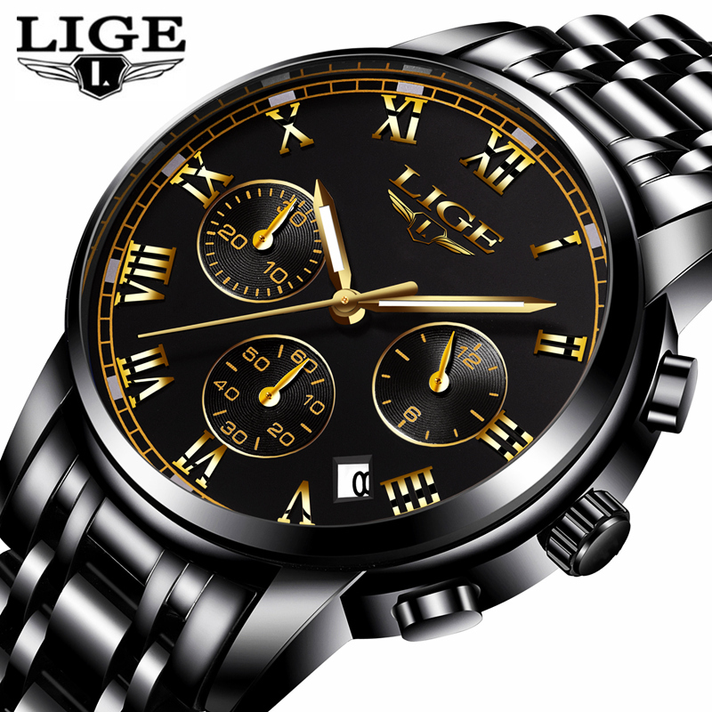 LIGE Fashion Sport Watch Mens Watches Top Brand Luxury Quartz Watch Men Full Steel Waterproof Business Watches Relogio Masculino american ceramic bathroom mouth cup set wash cup brush tooth cup couple tooth cylinder soap dish bathroom five piece lo7281140