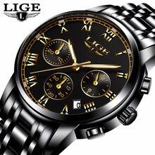 LIGE Fashion Sport Reloj Para Hombre Relojes de Primeras Marcas de Lujo de Cuarzo Reloj de Los Hombres de Acero Lleno Impermeable Negocio Relojes Relogio masculino
