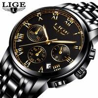 LIGE Fashion Sport Watch Mens Watches Top Brand Luxury Quartz Watch Men Full Steel Waterproof Business