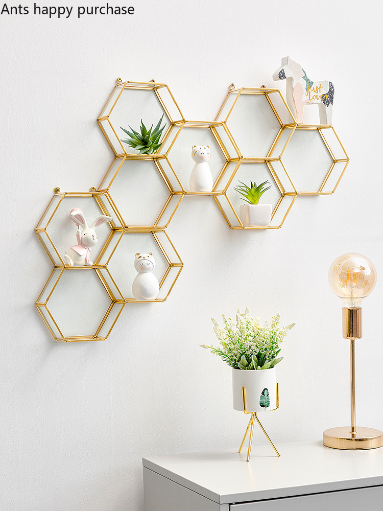 Creative hexagon metal glass Wall mount Room home decor ... on Shelf Sconces For Living Rooms Contemporary id=37469