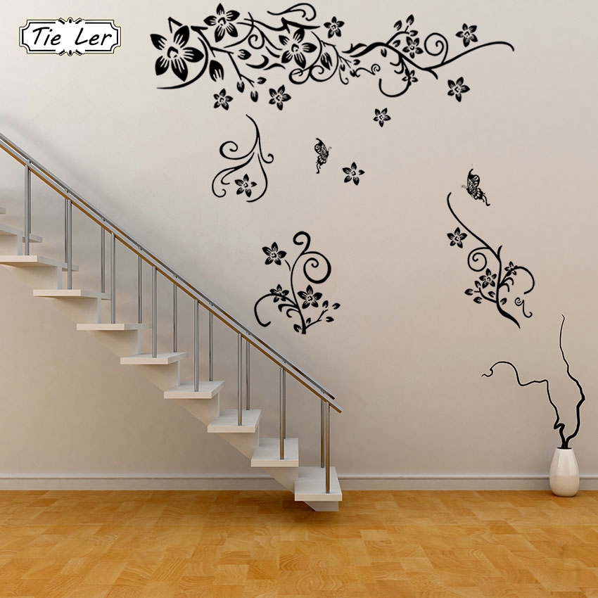 TIE LER Hot Sellings Classical Black Flower Wall Art Living Room Floral Wall Stickers Home Decorations Plant Wall Decals