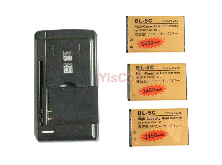 imágenes para 3x2450 mah bl5c bl-5c bl 5c batería de reemplazo de oro + universal cargador para nokia 2322c 2323c 2330c 2332c 2135 2255 2280 ect