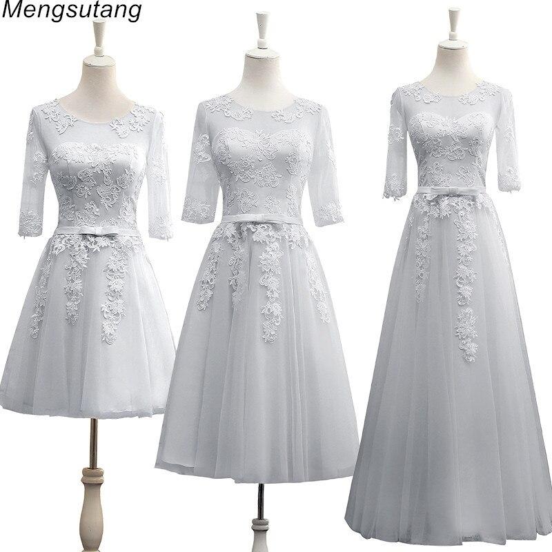 Robe de soiree vestido de festa Grey A-Line lace up with Appliques long   dress   Elegant   bridesmaid     dresses   Banquet Prom Party Gown