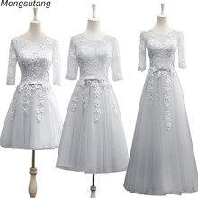 Robe de soiree vestido de festa Grey A-Line lace up with Appliques long dress El