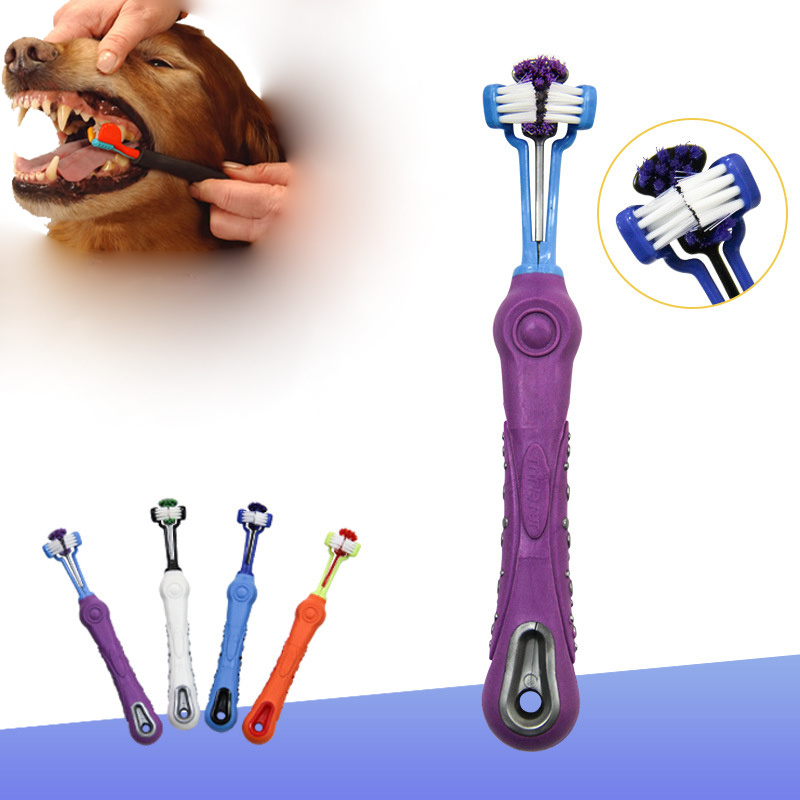 Three Sided Pet Toothbrush <font><b>Dog</b></font> Brush Addition Bad Breath Tartar Teeth Care <font><b>Dog</b></font> Cat Cleaning Mouth grooming supply Hot Selling image
