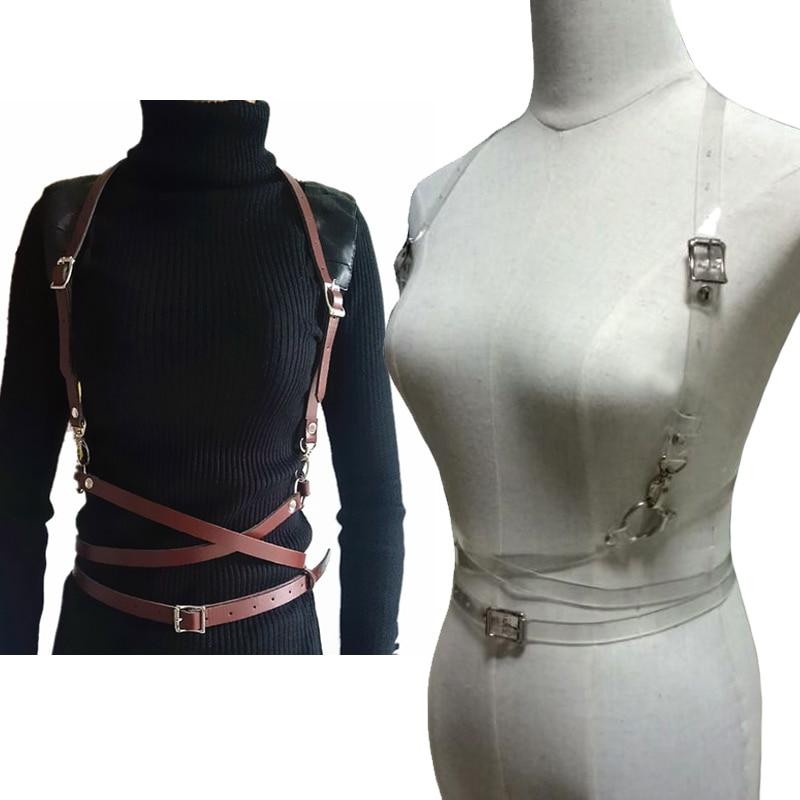 Women sexy Punk Manual Clear Skinning leather Harness   belt   Body Binding O Round Harjuku Chest garter   belt   accessories