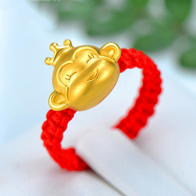 New Pure 24k Yellow Gold Ring Women Little Crown Monkey Weave Ring For LoverNew Pure 24k Yellow Gold Ring Women Little Crown Monkey Weave Ring For Lover