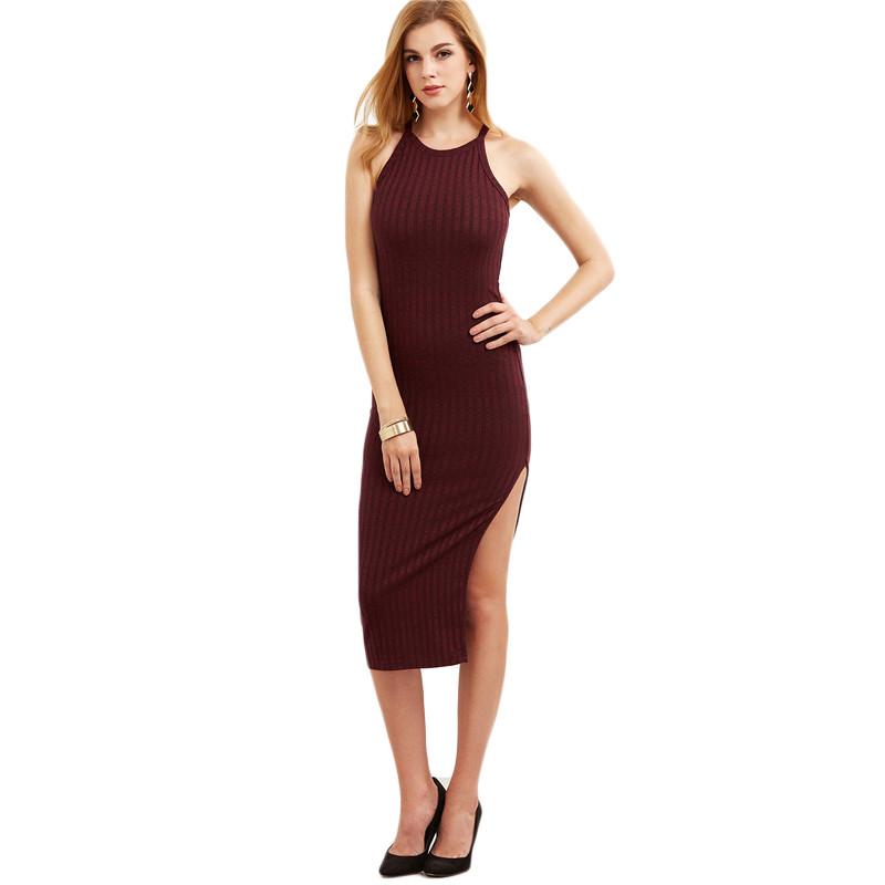 COLROVIE Women Sexy Bodycon Cami Dress Winter Autumn 2017 Women Fall Fashion New Designer Side Slit Ribbed Midi Dress 14