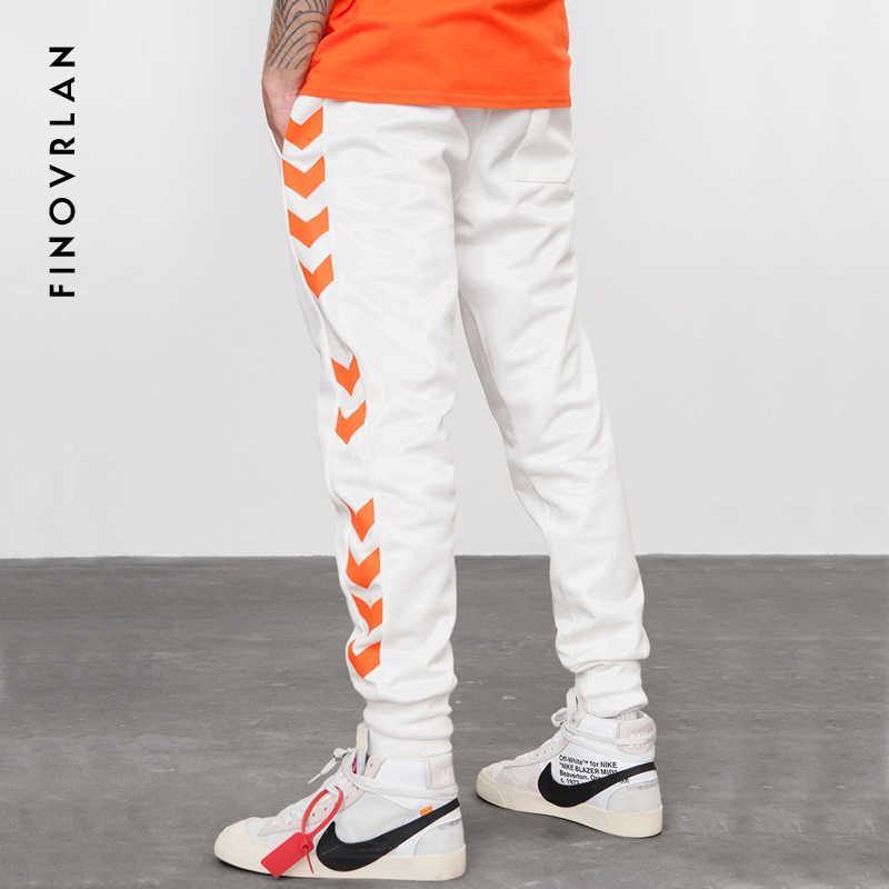 Yüksek Sokak Erkek hip hop Sweatpants Yan Şerit Mektup Baskı Kontrast Renk Jogger Elastik Bel Erkek Eşofman Streetwear