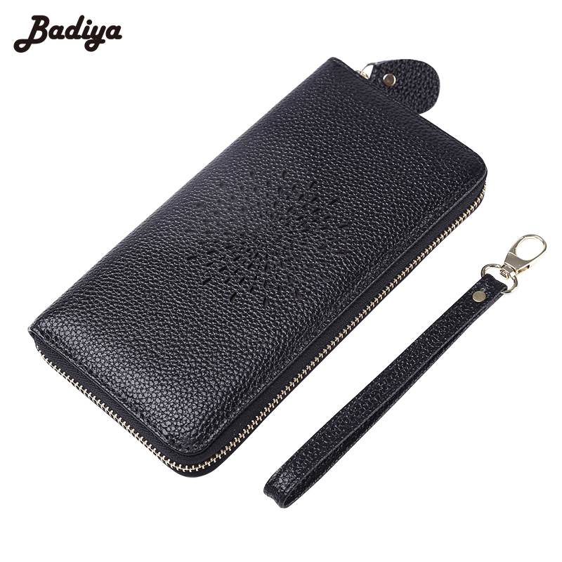New Hollow Out Genuine Leather Long Purse Women Zipper Coin Purses Lady Clutch Cash Credit Card Holder Wallets With Wrist Belt hot sale owl pattern wallet women zipper coin purse long wallets credit card holder money cash bag ladies purses