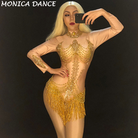 Women Sexy Stage Skin Color Bodysuit Gold Tassel Sparkling Crystals Jumpsuit Nightclub Party Stage Wear Dancer Singer Bodysuit