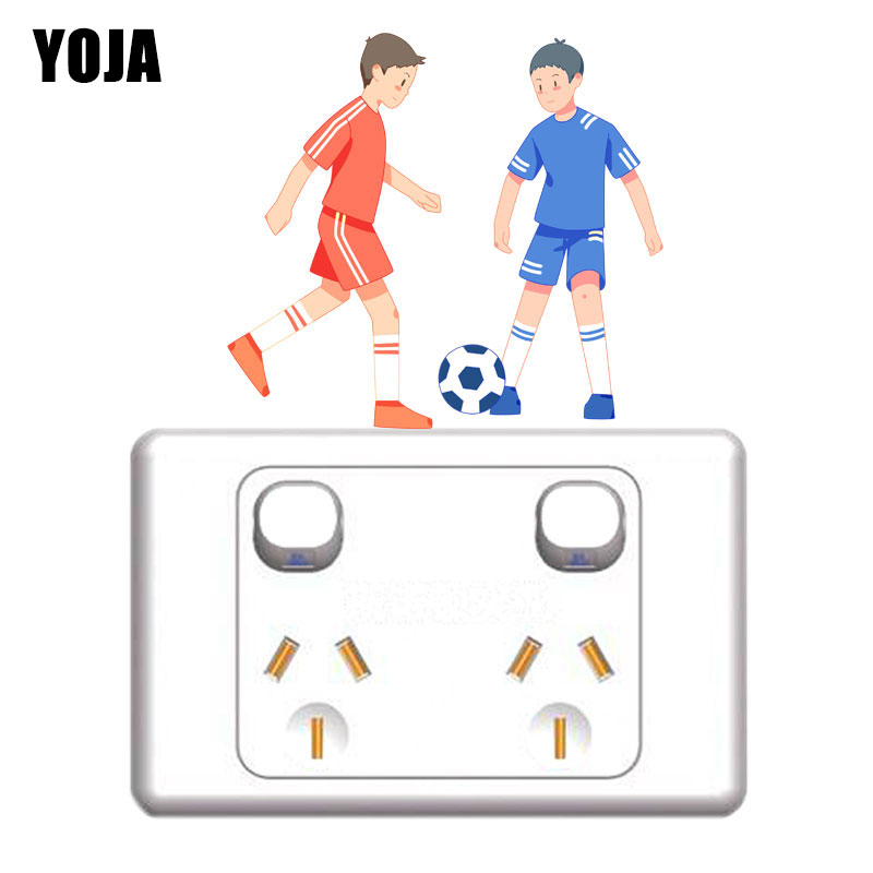YOJA Boy And Friend Play Football Happily Interesting Kids Room Decor PVC Wall Sticker Colour Switch Decal 8SS1926 image