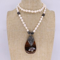 3 pieces pearl necklace with tassel Natural drop onyx pendants necklace with bugs bees pendant gems for women 3112