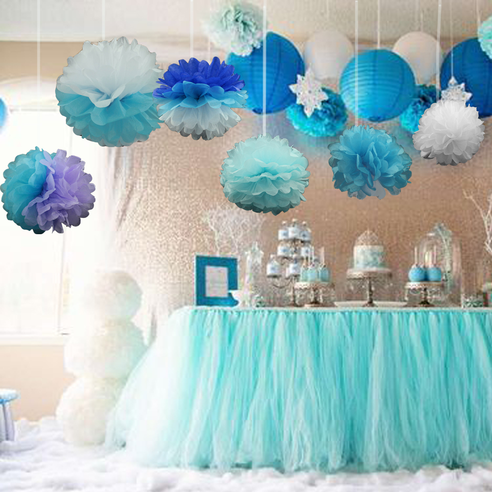 10pcs/Pack 15cm,20cm,25cm Mixed Colors Tissue Paper Pom Poms For Baby  Frozen Birthday Party Ideas Wedding Party Decoration