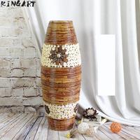 Big Retro Bamboo Floor Vase Big Living Room Decorative Large Floor Vase Home Art & Craft Flower Pot Woven Antique Vase