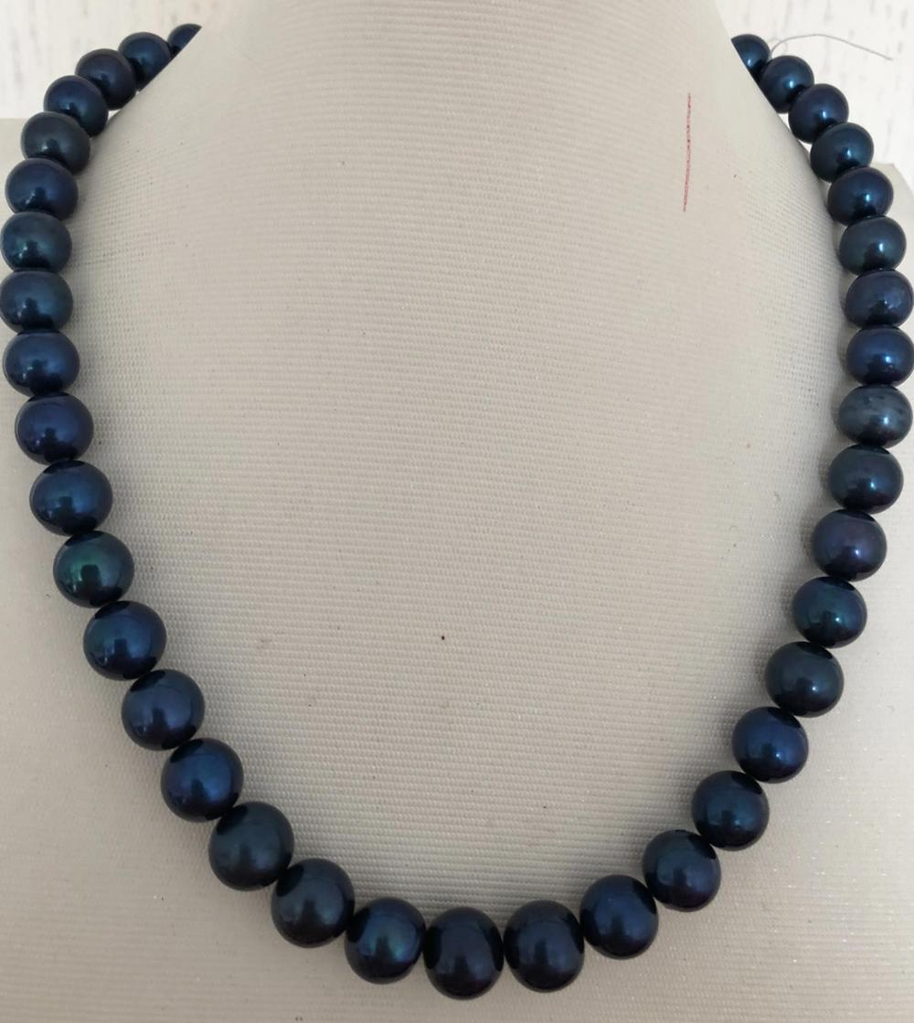 elelgant 9-10mm TAHITIAN ROUND BLACK BLUE pearl necklace 18inch 925 silver
