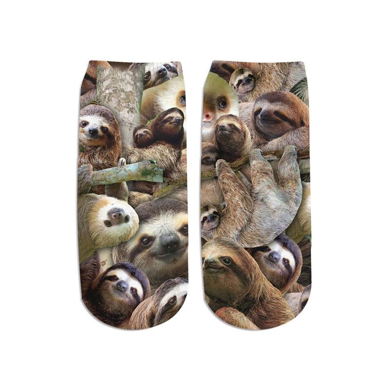PLstar Cosmos 2019 New 3D Printed Animal sloth/lion/brown bear cute cotton short ankle socks for Men Women harajuku korean socks 2