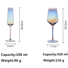 2 PCS /Set Creative Colorful Glass Cup Champagne Flutes Wine Cup Table Decoration Wedding Cups Drinkware