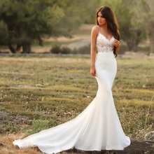 Verngo Mermaid Wedding Dresses 2019 Spaghetti straps Simple White/Lvory Vestido de novia V-neck