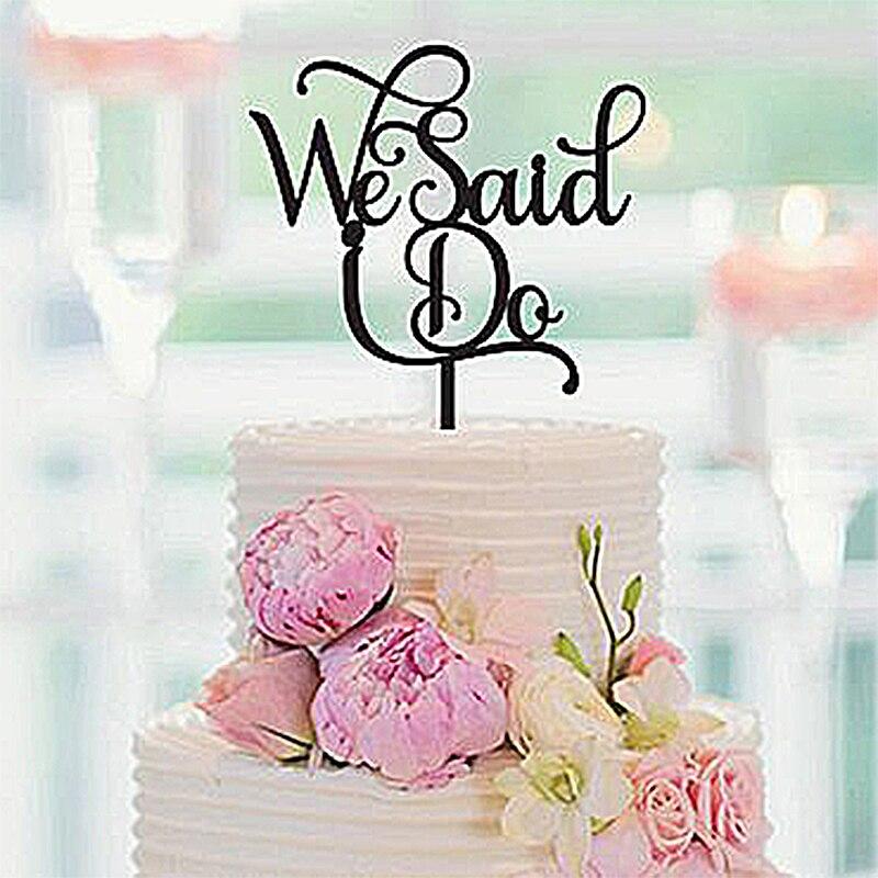 Wedding Cake Topper, We Said I Do, Wedding Decor, Gold
