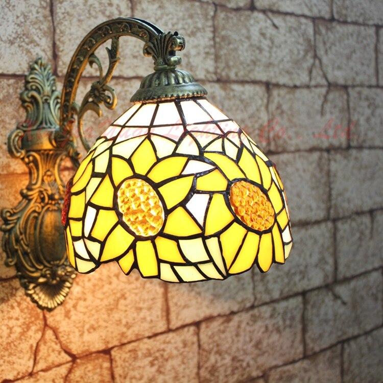 European style tiffany minimalist golden sun flower wall lamp corridor bedroom bedside bathroom mirror lamp