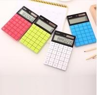 LCD Display Hot Sale Creative Slim Portable Mini 12 Digital Calculator Solar Energy Crystal Keyboard Dual