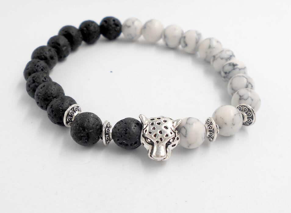 Fashion White and Black Leopard Charm Bracelet Silver Color Stone ...