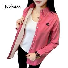 Jvzkass 2018 women's autumn and winter new version plus velvet warm long-sleeved shirt women's thickening plus cotton shirt Z247 цена 2017