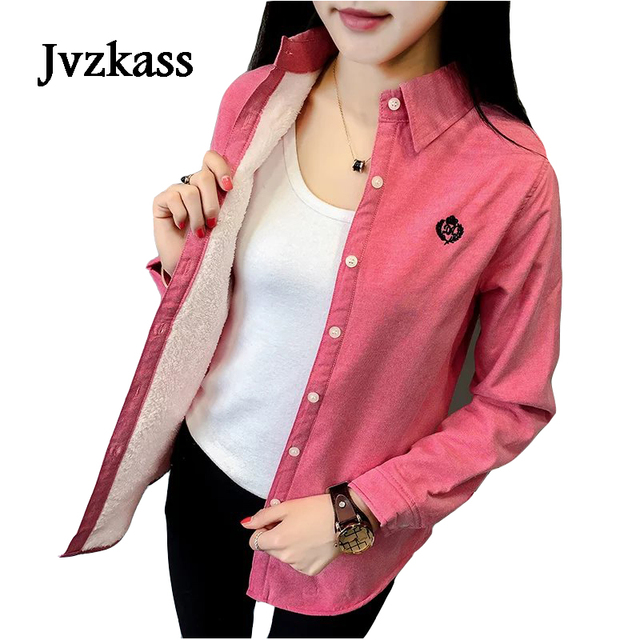 Jvzkass 2018 women's autumn and winter new version plus velvet warm long-sleeved shirt women's thickening plus cotton shirt Z247