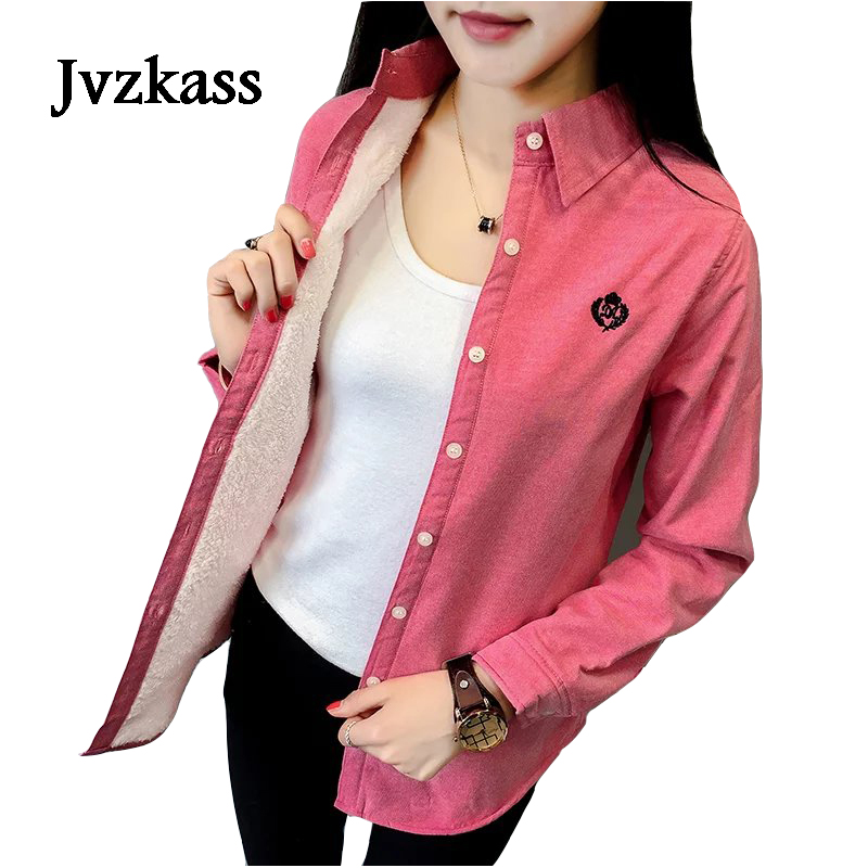 Jvzkass 2019 New Women's Autumn And Winter New Version Plus Velvet Warm Long-sleeved Shirt Women's Thickening Plus Cotton Shirt Z247