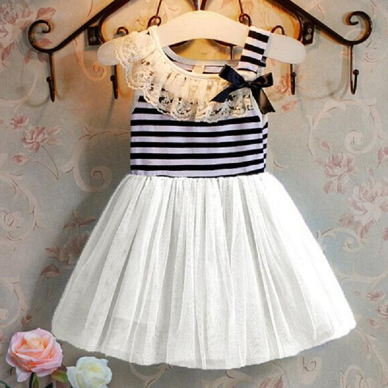 Hot Retail baby   Kids niña vestido de rayas de encaje Tutu dress niños ropa  vestido vestidos de fiesta para niñas 1 -4 niñas en edad 37c6dfe46cd7