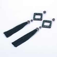Boho Hollow Square Pave Rhinestone Pendant Connector Charm Dark Green Silk  Fabric Extra Long Tassel Dangle 8355e9c177e7