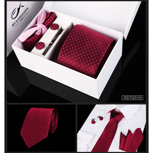 New 6pcs/set 100% Silk ties Men's Ties fashion Necktie set Plaid Stripe Mans Tie Neckties with gift box