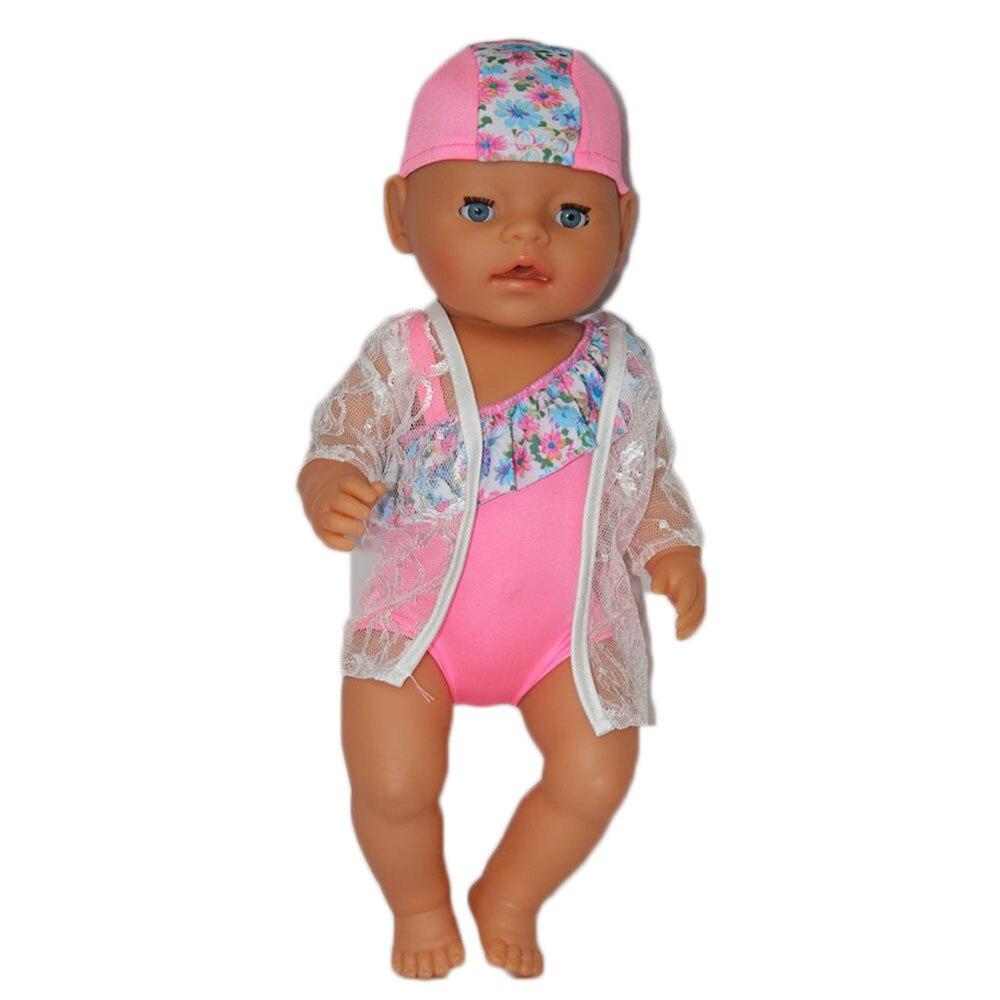 3pcs White Coat Pink Swimsuit Bathing Cap Doll Clothes