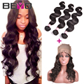 Pre Plucked 360 Lace Frontal With Bundles Brazilian Body Wave Human Hair Bundles With Lace Frontal Closure With Bundles