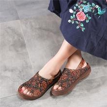 Tyawkiho Embroidery Leather Women Sandals Flat Heels Summer Shoes Retro Genuine Leather Women Sandals Handmade Slip On Shoe 2018