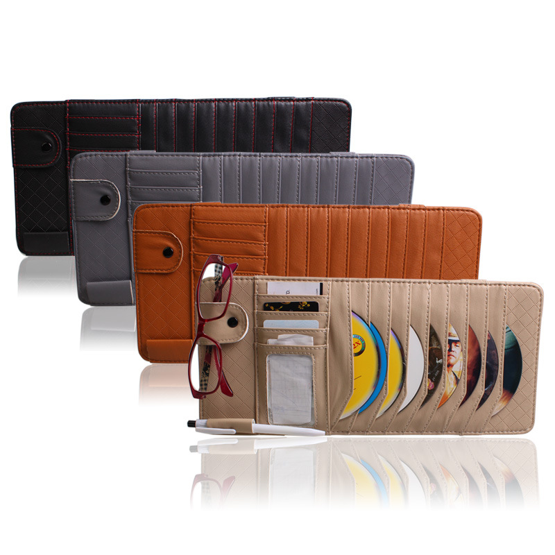 High Quality 9pcs Disc Tidy Sleeve CD DVD Car Sun Visor Card Case Multifunction Wallet Storage Holder Bag Free shipping