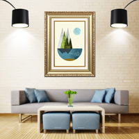 Artcozy Golden Frame Abstract Geometric Wall Art Prints Waterproof Canvas Painting