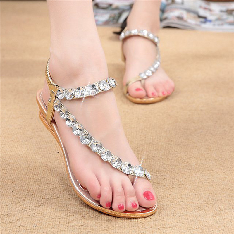 Hot Sale shoes Woman Sandals Summer Rhinestone Flats Platform Wedges Shoes gladiator sandals Gold Silver chaussures femme ete phyanic gold silver wedges sandals 2017 new platform casual shoes woman summer buckle creepers bling flats shoes phy4040