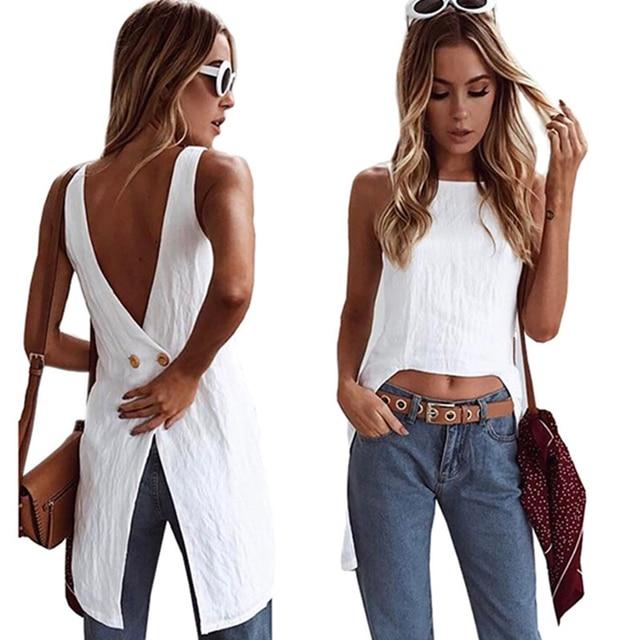 888e1ba89ba 2018 Summer Sexy Casual Women Shirt Blouse Plus Size Blouses Sleeveless  Loose Female Vest Tops A4