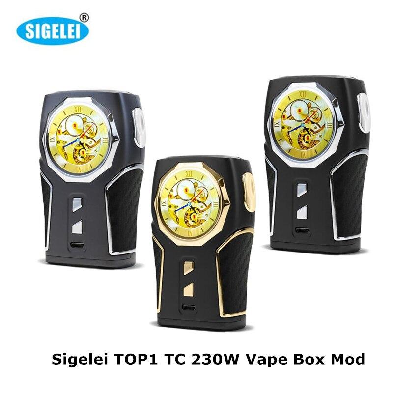 Original Electronic Cigarette Sigelei 230W TOP1 TC Vape Box Mod 1.3'' Screen 510 Tread Huge Vapour E Cigarette No 18650 Battery