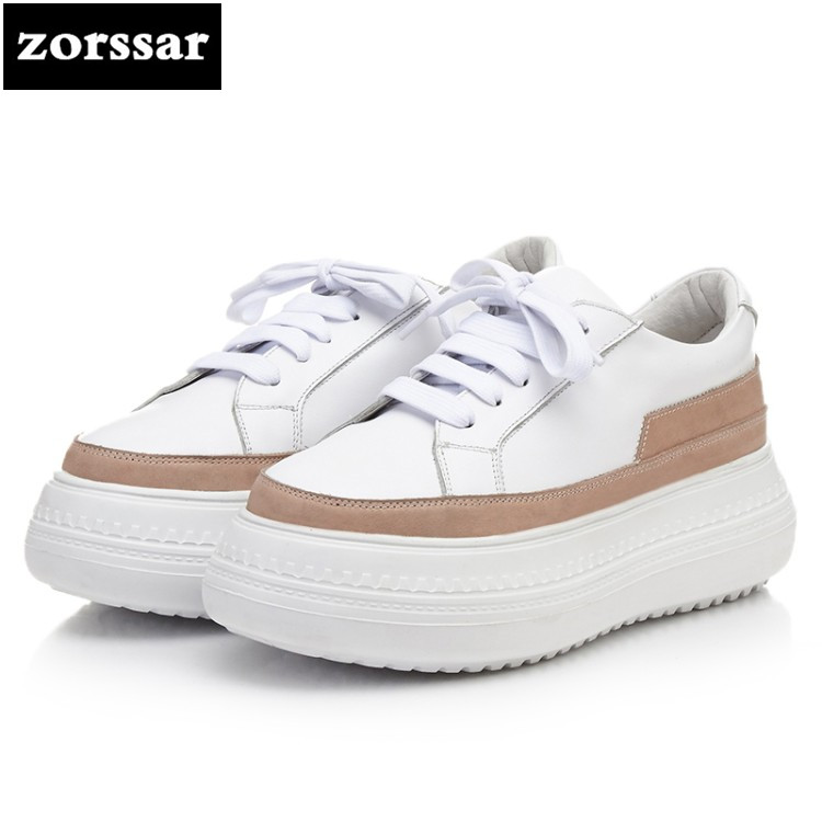 {Zorssar} 2018 New women flats shoes platform sneakers shoes Genuine Leather casual shoes lace up flat heel creepers moccasins instantarts casual teen girls flats shoes appaloosa horse flower pattern women lace up sneakers fashion comfort mesh flat shoes