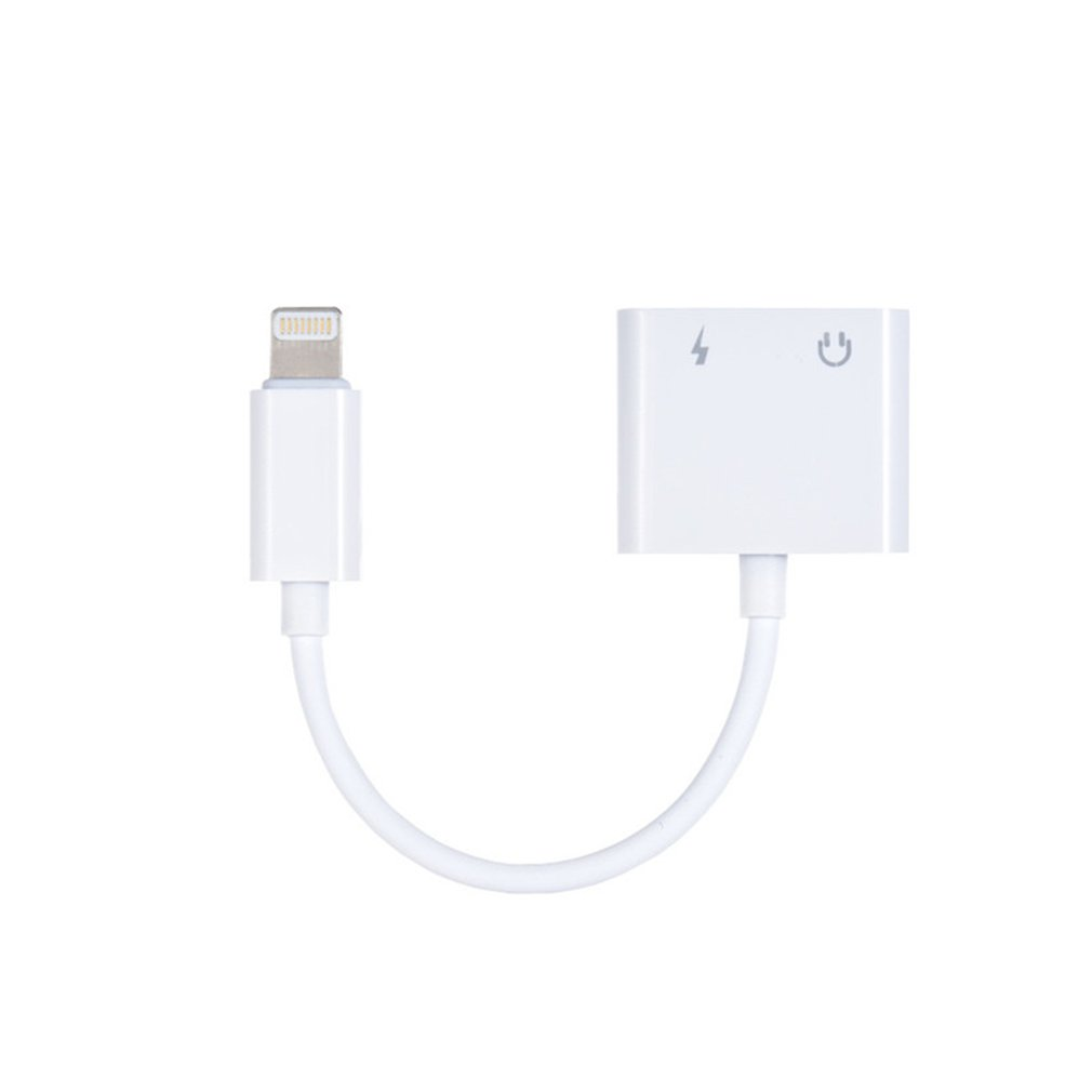adapter light headphones adapter cable audio for iPhone7/8/X charging two in one double wire control 3.5mm connector
