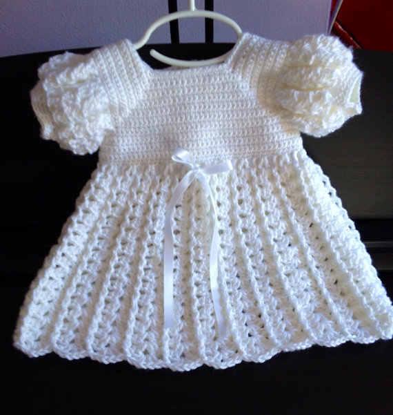 Vestido De Ganchillo Para Bebé Bendición De Bautismo Para
