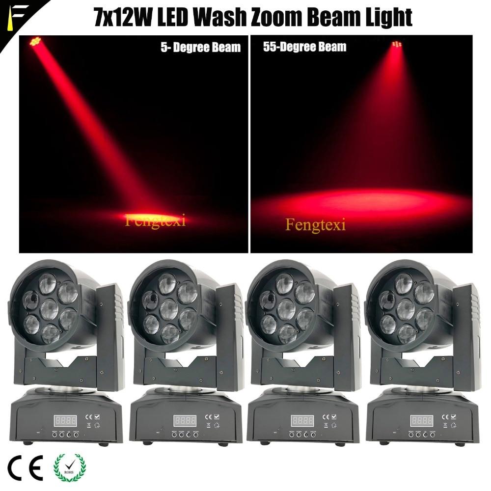 7x12w Shark Zoom Wash One Quad LED Wash Light Beam Moving Head 12wx7 LED 5-60 Degree Beam Angle